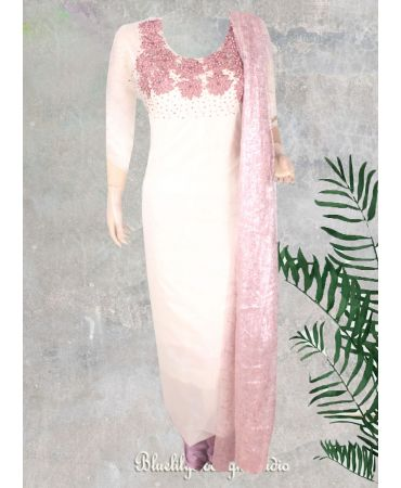Pure organza white with hand embroidery and sequins net dupatta