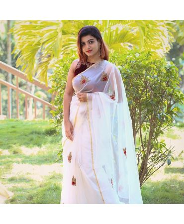 Organza with complete floral print   saree