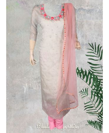 Aah organza  hand-worked suit with soft net pink dupatta