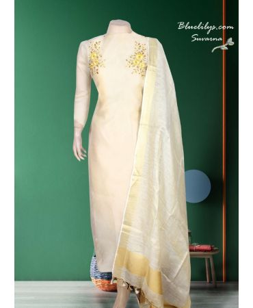 Pineapple delight shade embroidered organza with linen dupatta