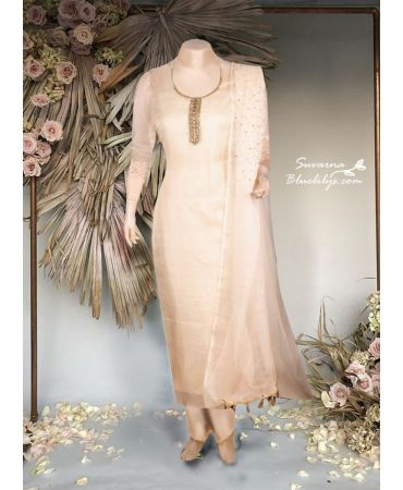 Sand beige organza suit with hand embroidery and organza dupatta