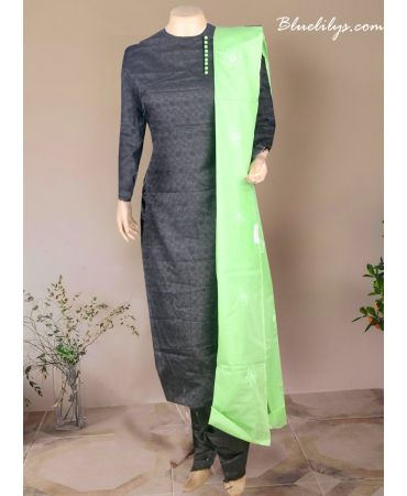 Black color net cotta  with mint green cotton dupatta