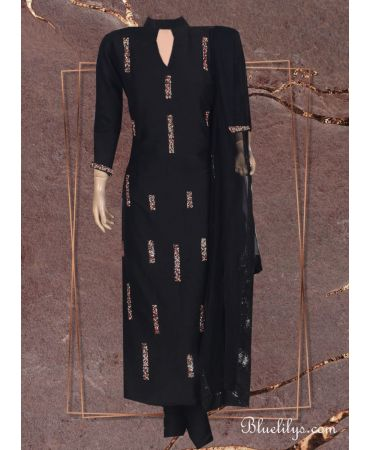 Black cotton with embroidery and black net dupatta