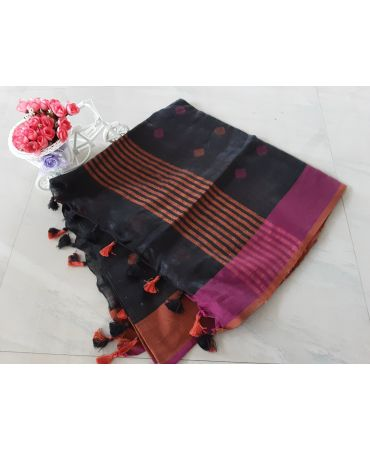 Dobi work inen dupatta in black color