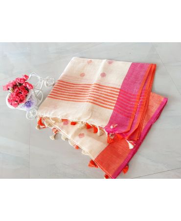 Dobi work inen dupatta in cream color