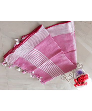 Tissue linen dupatta in lotus pink color