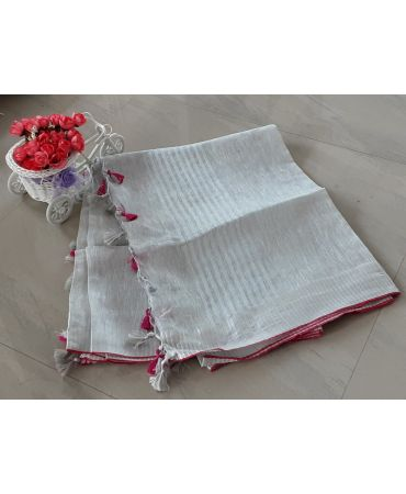 Tissue linen dupatta in pale golden shade