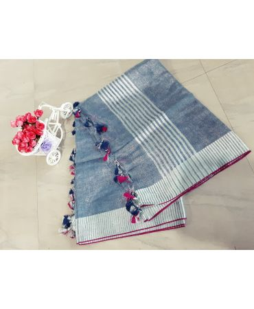 Tissue linen dupatta in ash color