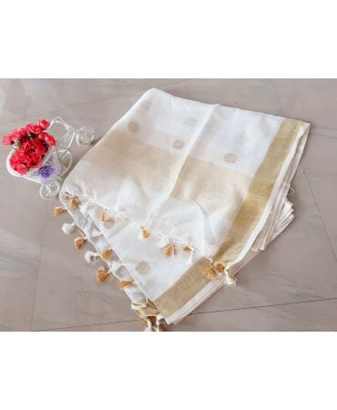 Jery buti linen dupatta in cream color with golden zari border