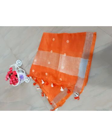 Jery buti linen dupatta in orange color with zari border