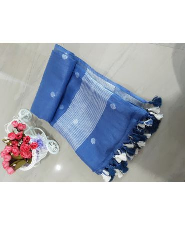 Jery buti linen dupatta in indigo blue color with zari border