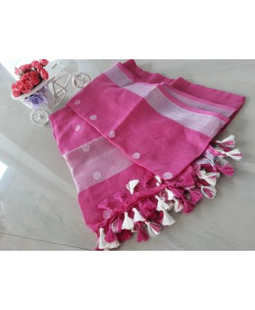 Jery buti linen dupatta in violet color with zari border