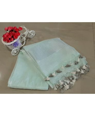 Jery buti linen dupatta in mint green color with zari border
