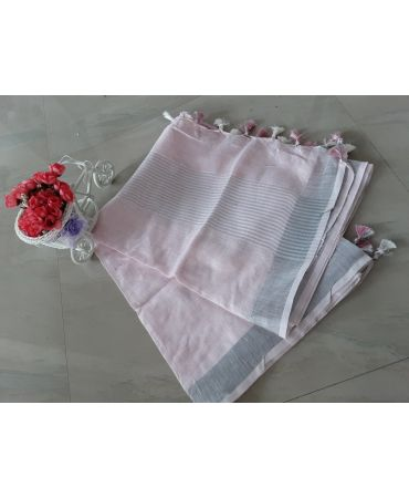 Jery buti linen dupatta in baby pink color with zari border