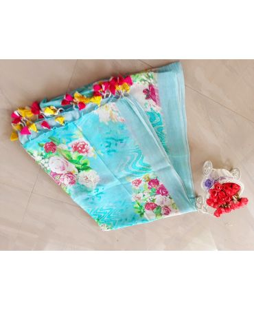 Digital Printed linen dupatta in sky blue color