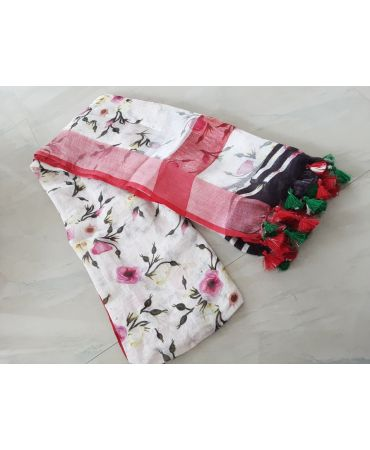 Digital Printed linen dupatta in red and off white combination