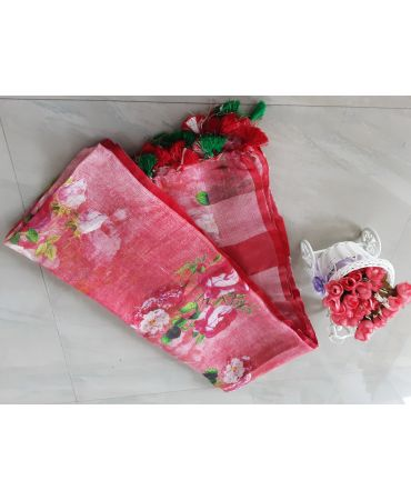Digital Printed linen dupatta in pale red color