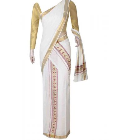 Cream color traditional set mundu with thread work border