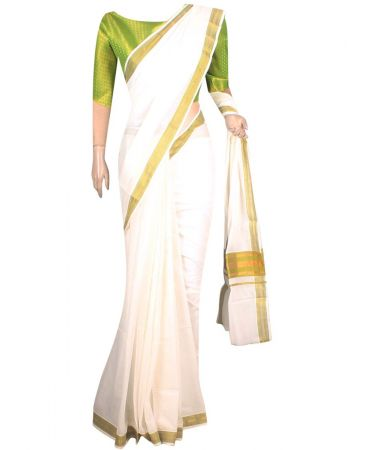 Cream color traditional kerala saree with brocade blouse in green color
