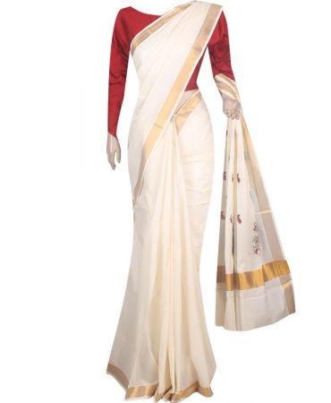 Cream color traditional kerala saree with embroidered pallove