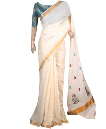 Cream color traditional kerala saree with embroidered pallove in green color