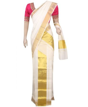 Cream color traditional set mundu with coin work blouse