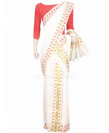 Cream color traditional set mundu with red color polka dots