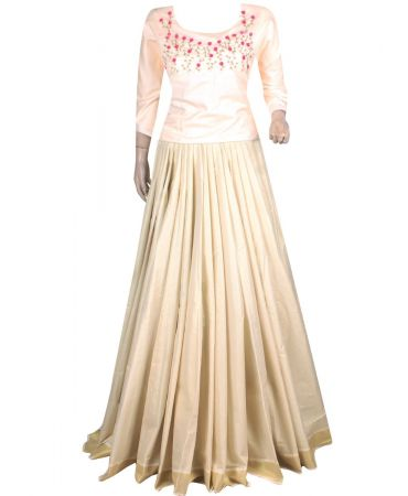 Unstitched tissue silk skirt and handworked semi jute top