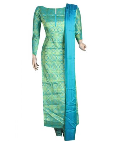 Blue green shade two tone patoda with  green silk dupatta mix and match suit