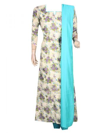 cream and multicolour fulkari embroidered cotton with plain blue shade dupion silk dupatta mix and match suite