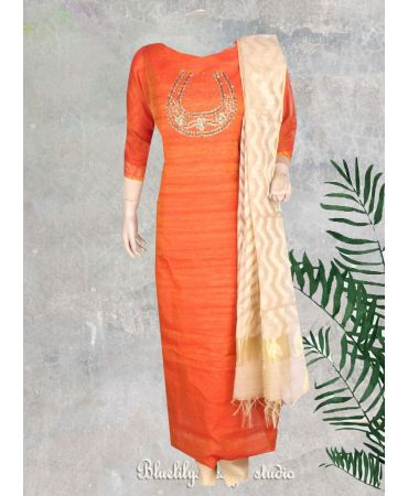 Dark salmon color noil jute with traditional work top and dupatta