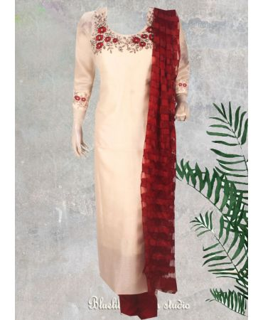 Organza beige with hand embroidered and self embroidered net dupatta