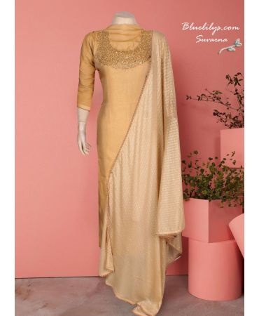 Dusty gold satin silk with hand embroidery salwar suit with lycra d upatta