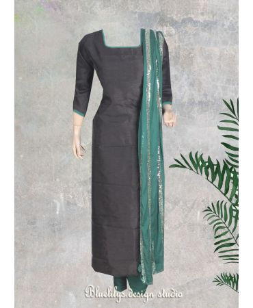 Black synthetic jute  top with sequenced green chinon dupatta