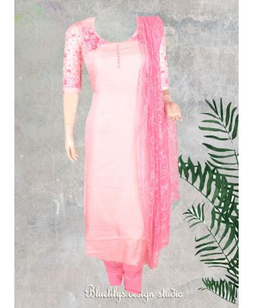 Pink Georgette  with hand embroidered and net dupatta