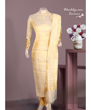 Stunning gold tissue with hand embroidery and golden net cotta dupatta