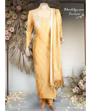 Synthetic jute golden top with hand embroidery and golden dupatta