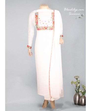Off white georget with hand embroidery  suit and georgette dupatta