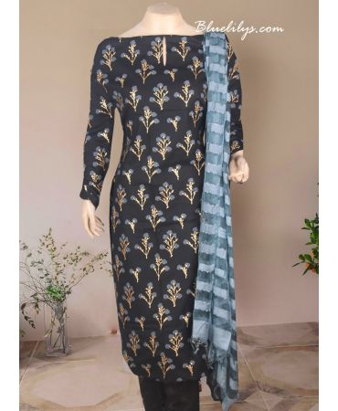 Black cotton printed with aash net dupatta