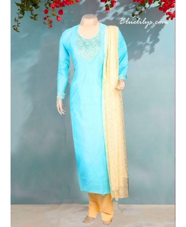 Sea blue chanderi top with hand embroidery and cream net dupatta