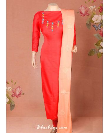 Semi jute red top with hand embroidery and cotton self design dupatta