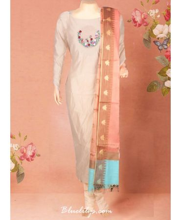 chanderi beige top with hand embroidery and semi tissue dupatta