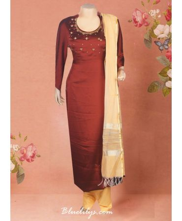 Satin georgette brown shade top with hand embroidery and golden dupatta
