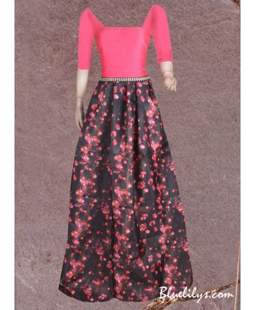 Unstitched black and pink digital floral print skirt with plain  dark pink top