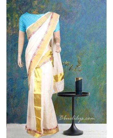 Cream colour traditional set mundu with floral lace and pink  blouse