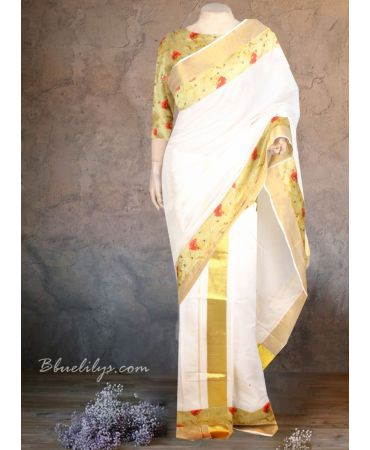 Pretty Kerala Cream colour traditional set mundu with green floral blouse