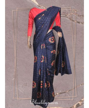 Nevy blue tussar silk embroidery saree with plain peach cotton silk blouse
