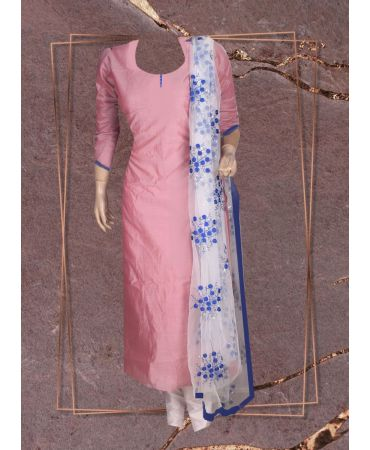 Opal purple chanderi  top with floral embroidered  net dupatta