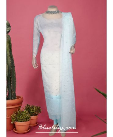 Light cyan shade organza with self design and organza dupatta