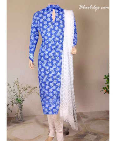 Blue and white combination  cotton printed with white dupatta